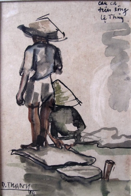 Fishing on Le Thuy River (WaterColors)
